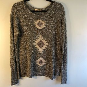 HOLLISTER Grey & White Long Sleeve Sweater M/L
